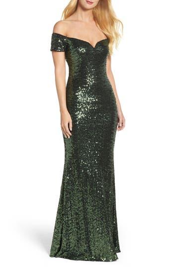 Badgley Mischka Off The Shoulder Sequin Gown, Green