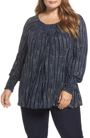 Plus Size Lucky Brand Print Peasant Top, Blue