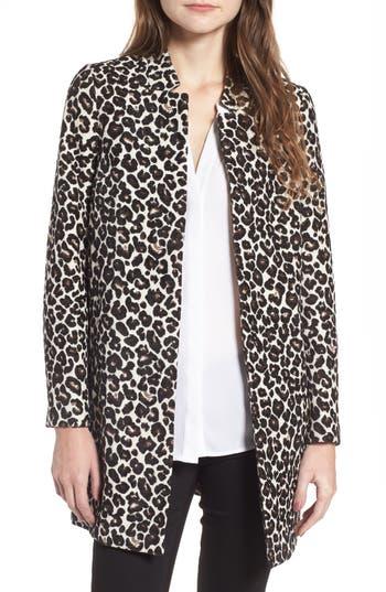 Women's Dorothy Perkins Leopard Print Car Coat, Size 10 US / 14 UK - Ivory