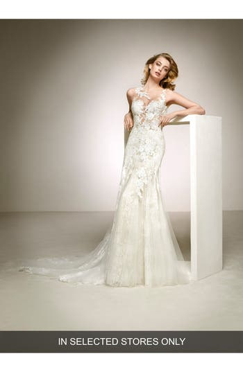 Pronovias Dalia Illusion Lace & Tulle Column Gown, Size IN STORE ONLY - Ivory