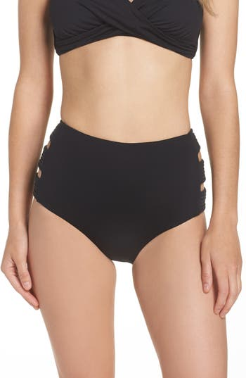 Seafolly Cutout High Waist Bikini Bottoms, US / 8 AU - Black