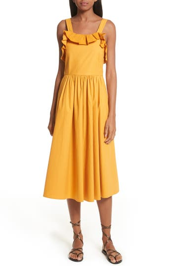 Women's Sea Sunrise Ruffle Midi Dress, Size 0 - Orange
