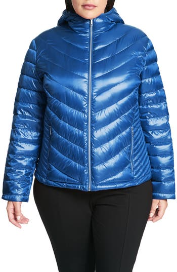 Plus Size Calvin Klein Packable Quilted Down Jacket, Blue