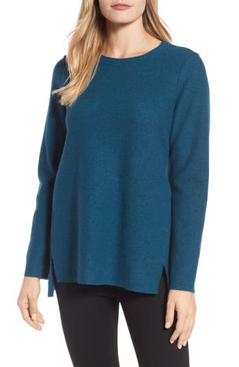Eileen Fisher Boiled Merino Wool Top, Blue