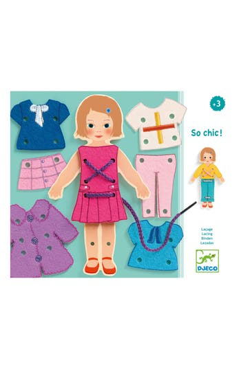 Girl's Djeco So Chic Lacing Dress-Up Doll