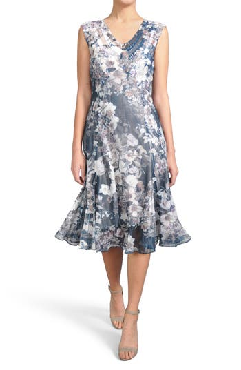Komarov Print Pleated Chiffon & Charmeuse Dress, Blue