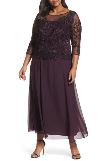 Plus Size Pisarro Nights Illusion Neck Beaded A-Line Gown, Burgundy