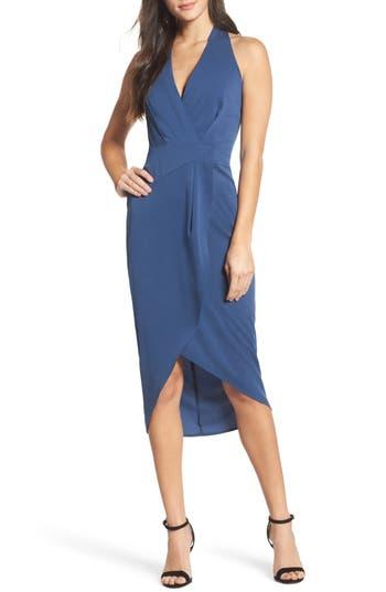 Cooper St Claudia Drape Midi Dress, Blue