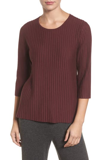 Eileen Fisher Ribbed Merino Wool Sweater, Burgundy