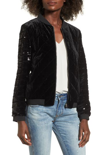 Women's Soprano Quilted Sequin & Velvet Bomber, Size X-Small - Black