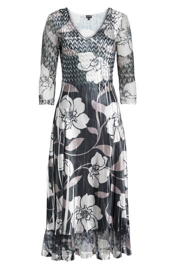 Komarov Floral A-Line Dress, Black