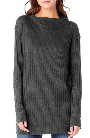Michael Stars Cowl Neck Ribbed Top, Size One Size - Grey