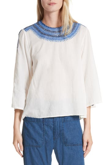 The Great. The Oasis Embroidered Top, Ivory