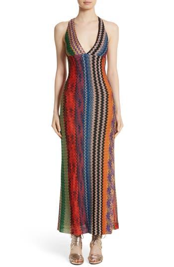 Missoni Metallic Zigzag Stripe Knit Gown, 8 IT - Blue