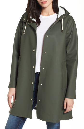 Women's Stutterheim Mosebacke Waterproof A-Line Hooded Raincoat