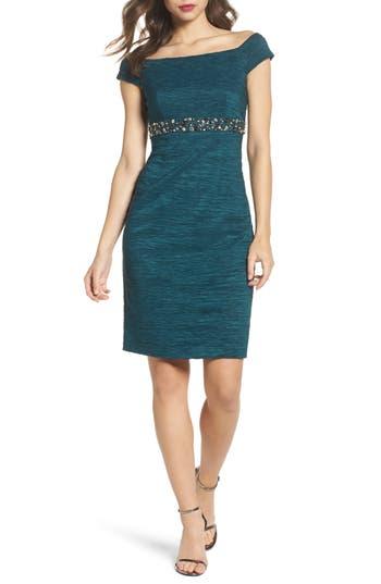 Eliza J Off The Shoulder Taffeta Dress, Green