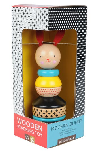 Infant Petit Collage 8Piece Modern Bunny Wooden Stacking Toy
