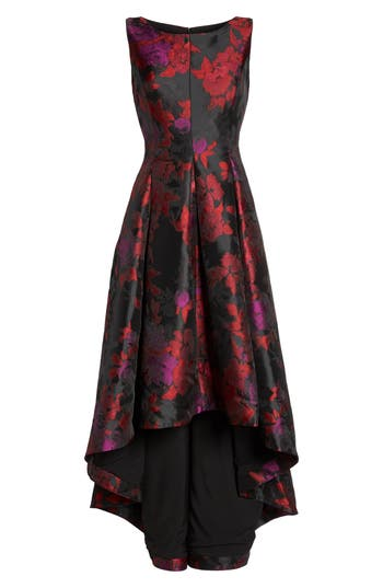 Eliza J Floral Jacquard High/low Gown, Red