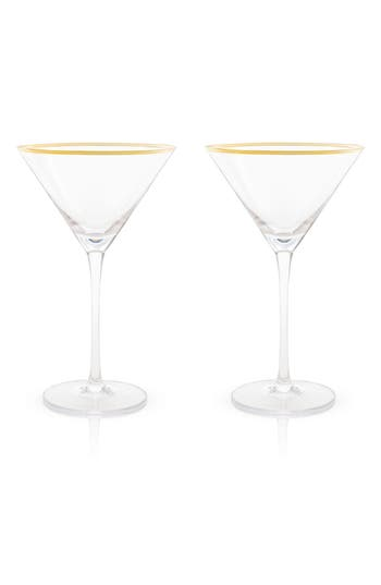 True Fabrications Viski Belmont Set Of 2 Gold Rim Martini Glasses, Size One Size - White