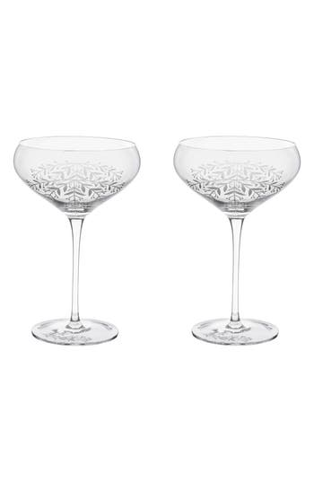Twine Floral Set Of 2 Champagne Coupes, Size One Size - White