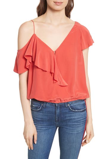 Women's Joie Alcyoneus Off The Shoulder Silk Top, Size X-Small - Red
