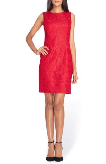 Tahari Bonded Lace Sheath Dress, Red