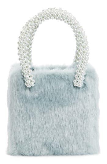 Shrimps Una Check Faux Fur Bag With Imitation Pearl Handles - Blue/green at NORDSTROM.com