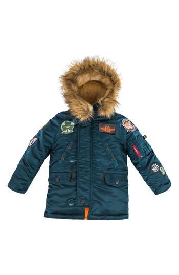 Boys Alpha Industries N3B Maverick Faux Fur Water Resistant Parka Size M  1012  Blue