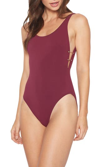 Robin Piccone Luca Scoop Back One-Piece Swimsuit, Red