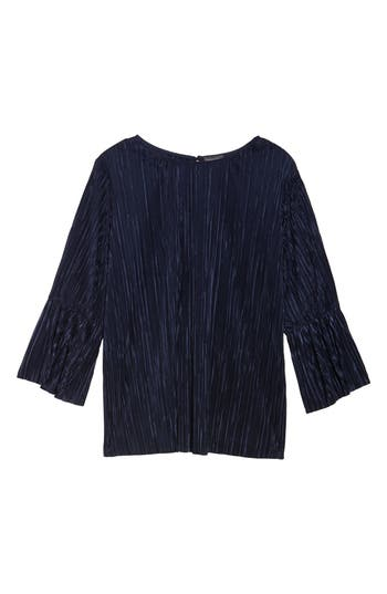 Plus Size Vince Camuto Pleated Knit Bell Sleeve Top, Blue
