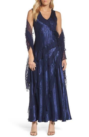 Komarov Ruffle Maxi Dress With Wrap, Blue