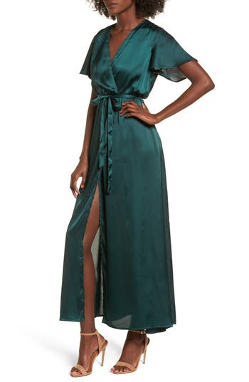 Women's Stone Row Ez Days Satin Wrap Maxi Dress, Size X-Small - Green