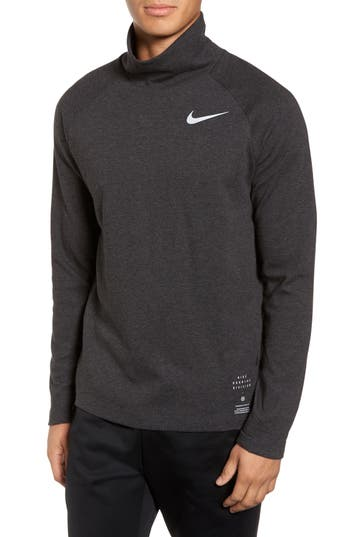Nike Mock Neck Long Sleeve Running T-Shirt, Black