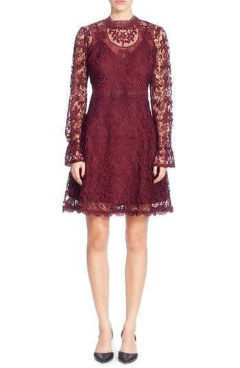 Catherine Catherine Malandrino Miia Lace Fit & Flare Dress, Purple