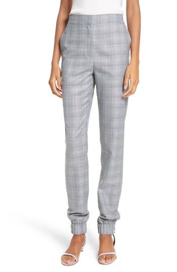 Women's Tibi Plaid Jogger Pants, Size 00 - Grey
