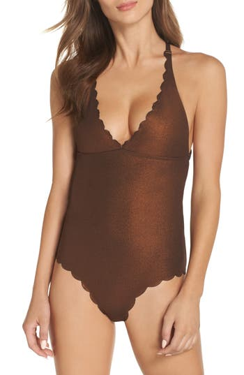 Pilyq Wave Reversible Seamless One-Piece Swimsuit, Brown