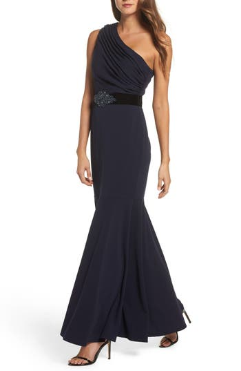 Eliza J One-Shoulder Scuba Crepe Mermaid Gown, Blue