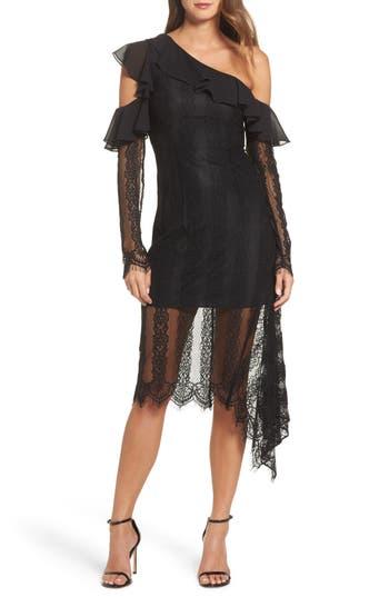 Keepsake The Label Better Days One-Shoulder Cutout Lace Dress, Black