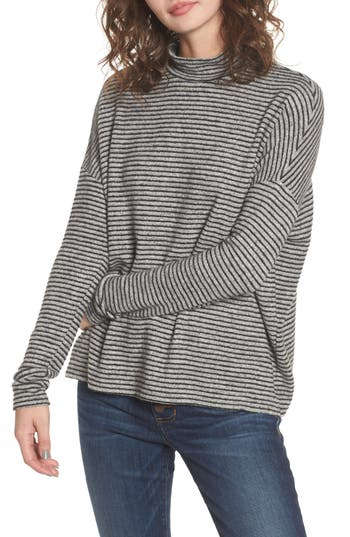 Women's Soprano Stripe Mock Neck Sweater, Size X-Small - Grey