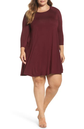 Plus Size Women's Soprano Swing Dress, Size 1X - Burgundy