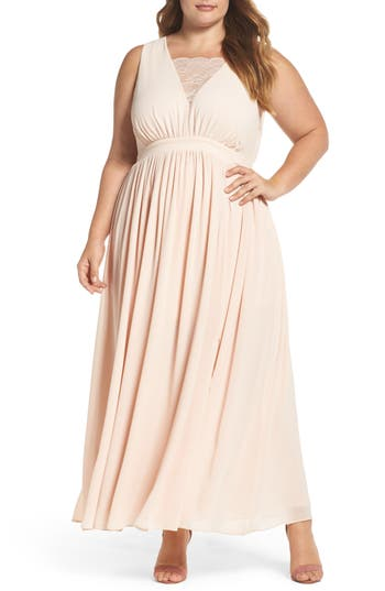 Plus Size Women's Soprano Lace Inset Maxi Dress, Size 1X - Pink