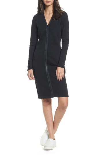 James Perse Zip Front Scuba Dress, Black