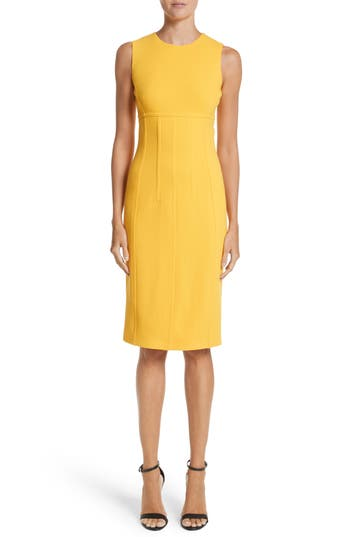 Michael Kors Stretch Boucle Crepe Sheath Dress, Yellow