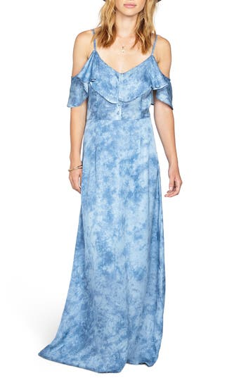 Amuse Society Lost Paradise Off The Shoulder Maxi Dress, Blue