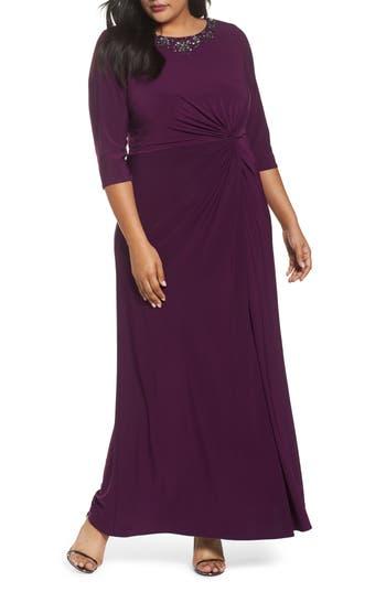 Plus Size Women's Alex Evenings Embellished Knot Front A-Line Gown, Size 24W - Purple