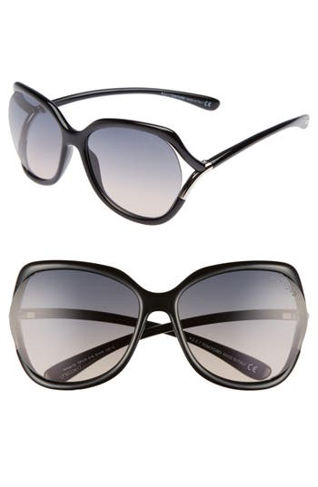 Tom Ford Anouk 60Mm Geometric Sunglasses - Black/ Gradient Smoke