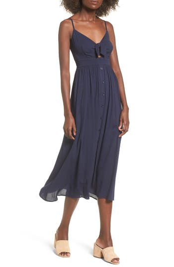 Women's Soprano Tie Front Midi Dress, Size X-Small - Blue