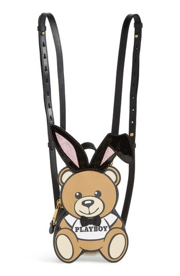 Moschino X Playboy Small Bunny Bear Leather Backpack - Brown