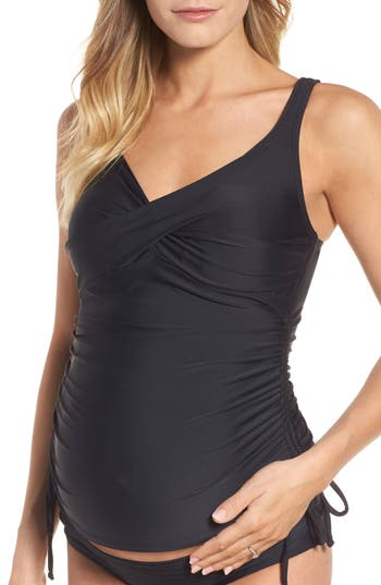 Maternal America Ruched Maternity Tankini Swimsuit, Black