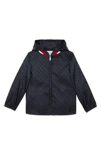 Boys Gucci Logo Hooded Nylon Jacket Size 4Y  Blue